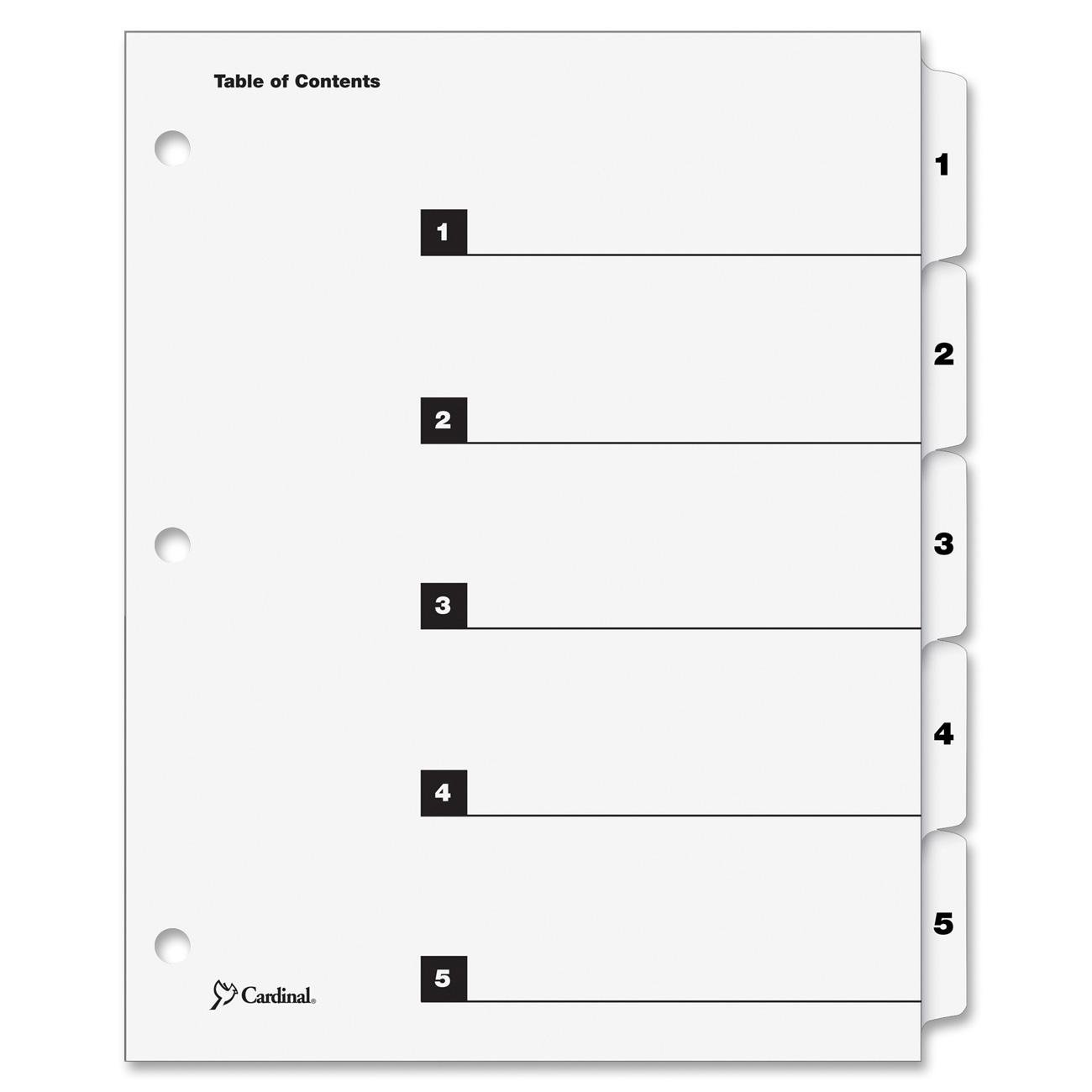 Multi-Color Cardinal by TOPS Products OneStep Index System 60828 Pack of 6 Sets Numbered 8-Tab