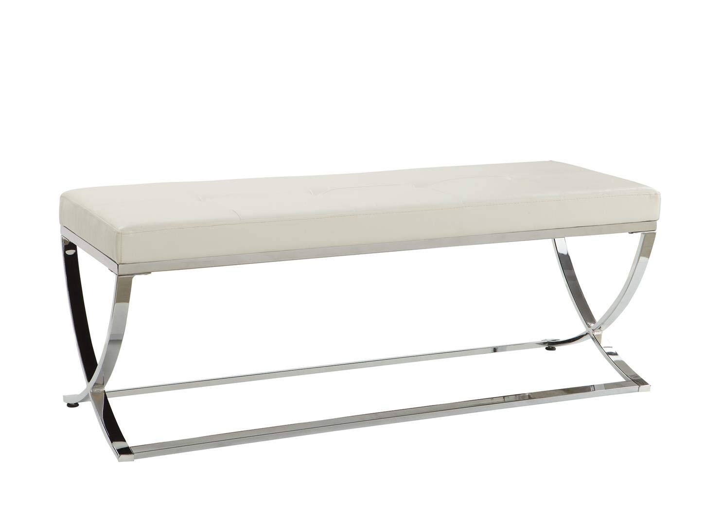 Man-Made Leather Bench with Metal Base White and Chrome
