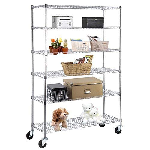 - SUNCOO Wire Shelving Unit Storage Rack Metal Kitchen Shelf Stainless Steel Adjustable 6 Tier Shelves with Wheels Chrome 48