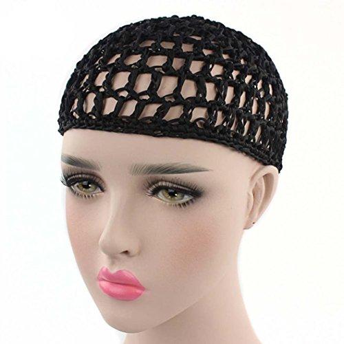 YJYdada Women Hand Crochet Hair Woven Hair Net Hair Cap Night Cap (Black) -