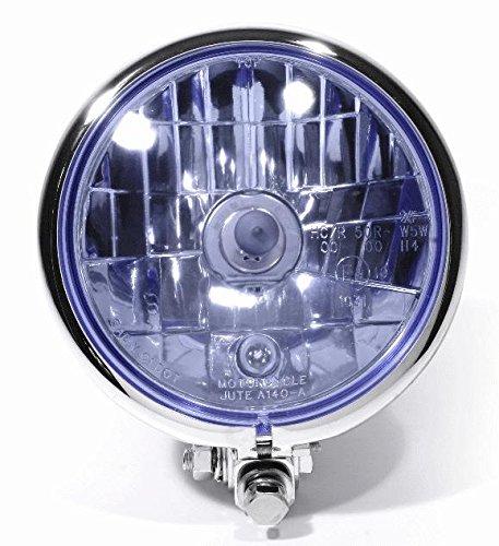 5 3//4 Zoll Scheinwerfer Bates Style Blauglas chrom