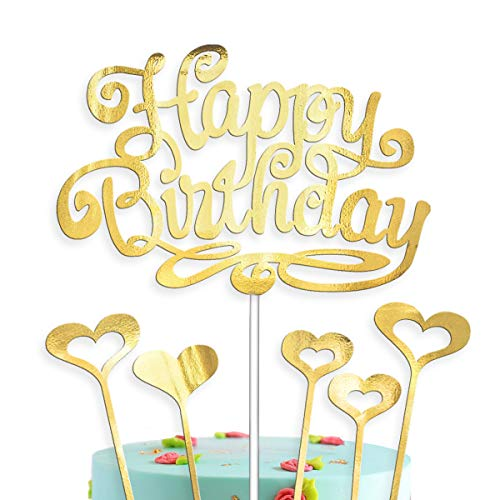 Cake Topper Happy Birthday Decorations Gold with 5 Hearts Love for Girls and Boys Men and Women Decor Set (Gold)