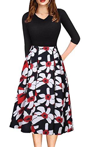 Vintage Disco Dress (UUYUK Womens Vintage Patchwork 3/4 Sleeve Pockets Party Skater Swing Dress Black US S)