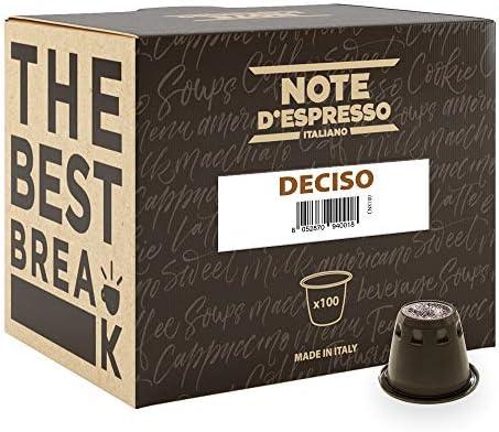Note D'Espresso Deciso Caffè in Capsule esclusivamente Compatibili con Sistema Nespresso* – 560 g (100 x 5.6 g)