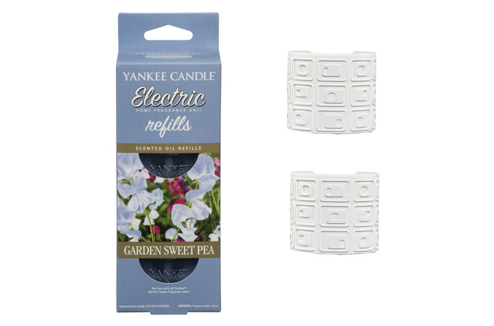 YANKEE CANDLE Scent Plug In Air Freshener STARTER SET - 2 x WHITE plugs and 2 x Refills (1 Twinpack) (GARDEN SWEET PEA) Cheshire Home Fragrance
