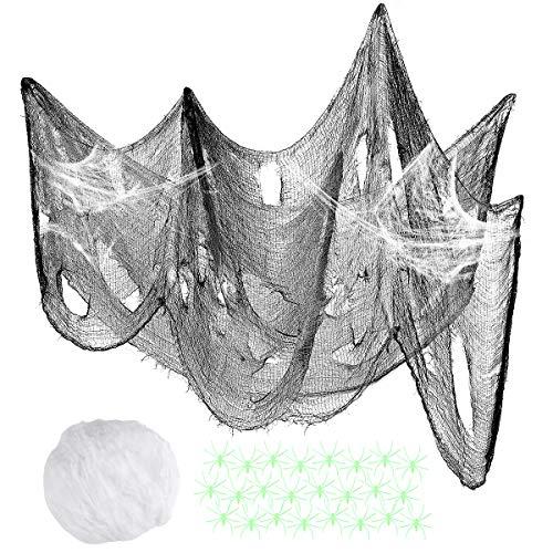 Halloween Spider Web Decoration Creepy Cloth , DIY Scary Halloween Decoration Fake Spider Cobweb with Spooky Fabric Luminous Spider ()