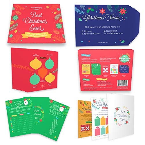 Christmas Games Set for Families - 4 Party Activities for Family, Adults, Kids, Funny and Festive for Holiday Xmas Gathering, Winter Party Favors and Supplies, Multi Person Game Kit by Standout Party (Party Kids For Ideas Xmas)