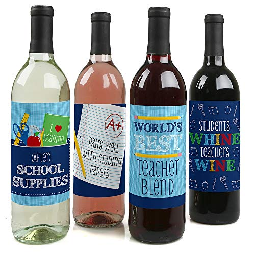Funny Colorful - Teacher Appreciation First Day of School Party Decorations for Women and Men - Wine Bottle Label Stickers - Set of 4