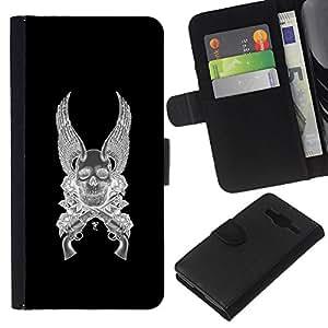 KLONGSHOP // Tirón de la caja Cartera de cuero con ranuras para tarjetas - Alas del ángel de la muerte armas Revolver Negro - Samsung Galaxy Core Prime //