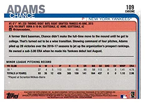 Amazon com: 2019 Topps Chrome #109 Chance Adams New York