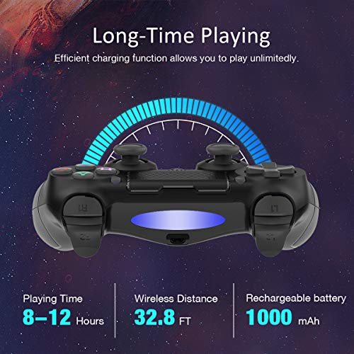 Wireless Controller for Playstation 4, Y Team Controller for PS4/Pro/Slim/PC/Smart TV, Wireless Remote Joystick Gamepad Built-in Gyro/Dual Motors/Audio Function/Speaker/Vibration Black