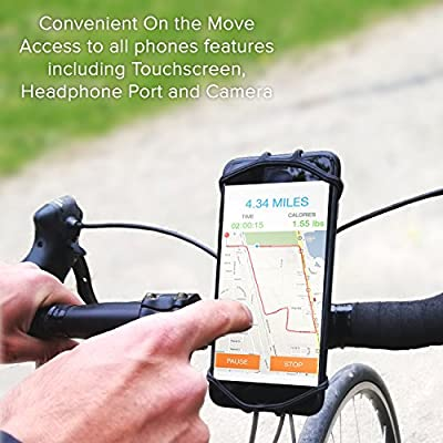 Bike Phone Mount Holder: Best Universal Handlebar Cradle for All Cell Phones & Bikes. Clamp Fits Road Motorcycle & Mountain Bicycle Handlebars. Cycling Accessories for iPhone X 8 7 6 Plus Galaxy ETC.