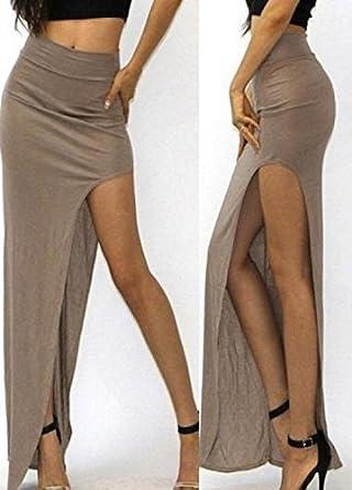 De las mujeres de cintura alta raja del lado gris de la falda ...