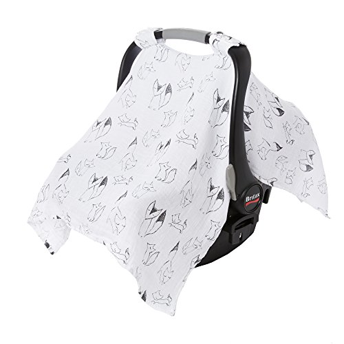 aden by aden + anais Car Seat Canopy, Lightweight Breathable Cover for Baby Car Seats and Infant Strollers, Single, Trotting Fox - Foxy