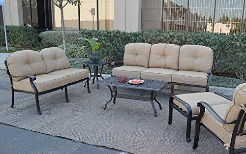 (Elizabeth Outdoor Patio 6 pc Set Seating Group Cast Aluminum (Antique Bronze with Sunbrella Sesame Cushions))