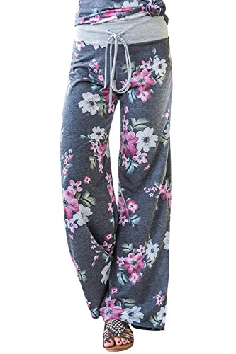 AMiERY Women's Floral Comfy Palazzo Pants Pajamas for Womens Joggers Casual High Waisted Wide Leg Lounge Pants Grey -