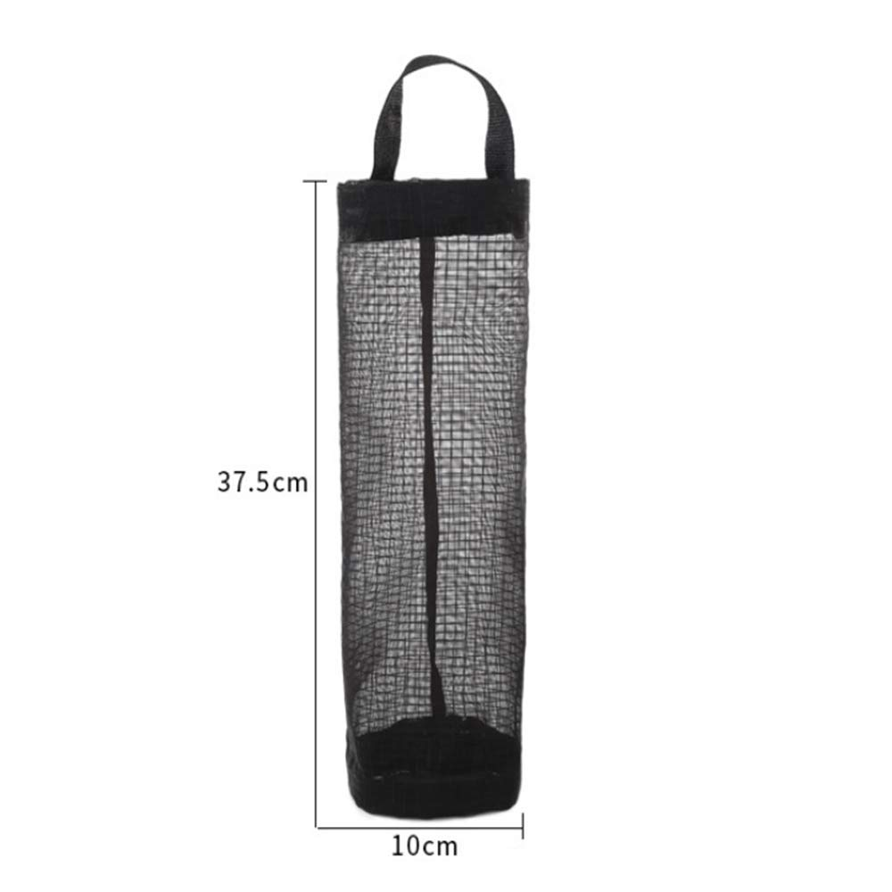 Bag Holder Dispenser, 1PC Hanging Storage Folding Mesh Garbage Bag Trash Bags Organizer Recycling Grocery Pocket Containers for Kitchen (Black)
