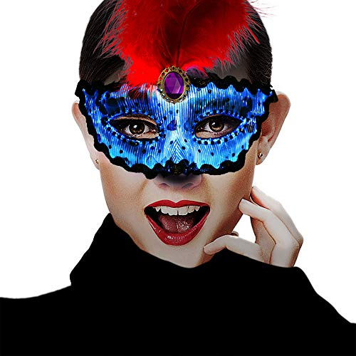 (SAFEBAO Party Evening Mask 7 Glowing Colors Red Feather Mask for Women Prom Halloween Light Up)
