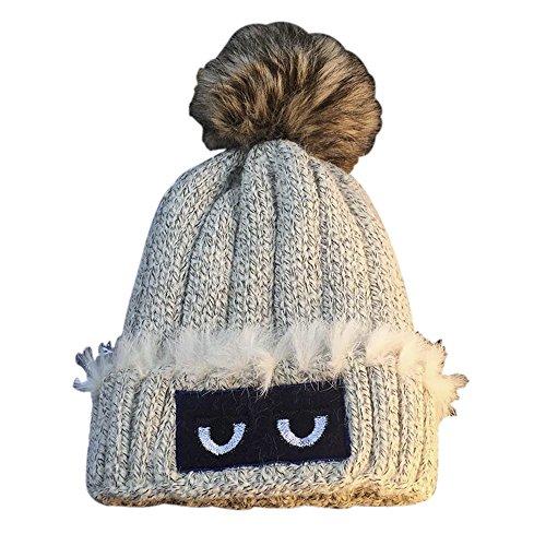 [ChezAbbey Women's Winter Wool Knitted Hat Fur Ball Funny Eyes Warm Beanie Cap] (Funny Hats For Sale)