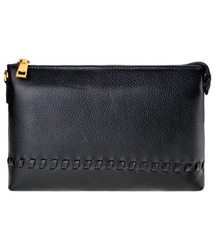 Grain Unisex Leather Medium Zipper ZLYC Wallet Genuine With Removable Black Wristlet Clutch xEwOad