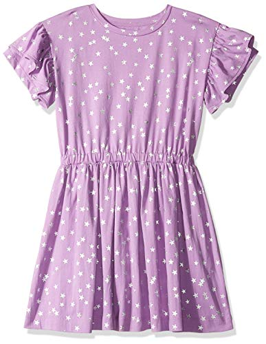 Amazon/ J. Crew Brand- LOOK by Crewcuts Girls' Ruffle Sleeve Dress, Purple Star, XXX-Large (16)