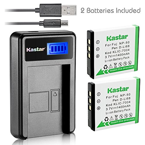Kastar Battery (X2) & LCD Slim USB Charger for Kodak KLIC-7004 K7004 NP-50 D-Li68 and EasyShare M2008 V1273 V1233 V1253 Zi8 Zi12 PlayFull Dual PlaySport PlayTouch Q7 Q10 Q-S1 Ricoh WG-M2 Camera by Kastar