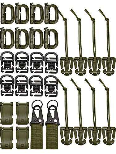 Zhanmai 30 Pieces Tactical Molle Attachments Tactical Bag Clip Strap Set for Tactical Backpack Molle Bag (Style 4)