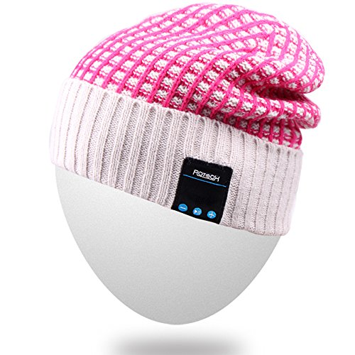 Rotibox Outdoor Bluetooth Wireless Beanie Hat Cap with Stereo Headphone Headset Earphone Speaker Mic Hands Free Talking Compatible with iPhone iPad Samsung Android Smartphones, ()