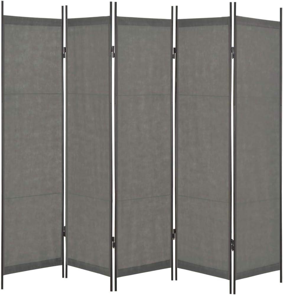 Tidyard Biombo de 5 Paneles Decoración Elegante,Separador de Ambientes Plegable,Divisor de Habitaciones,Gris Antracita 250x180 cm: Amazon.es: Hogar