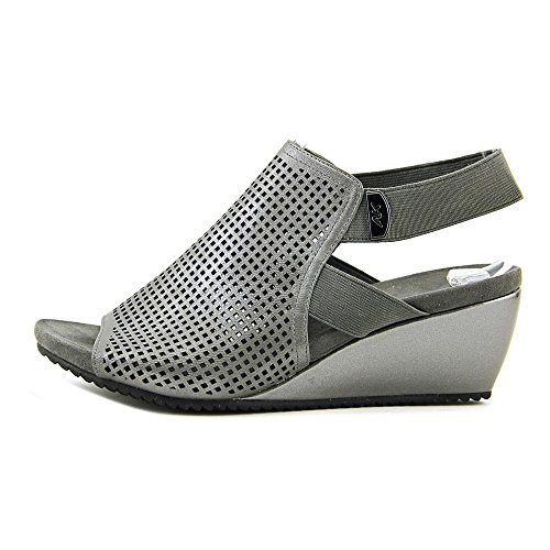 Anne Klein Womens Channyngp Open Toe Casual Platform Sandals Pewter Synthetic bcMPbWiy