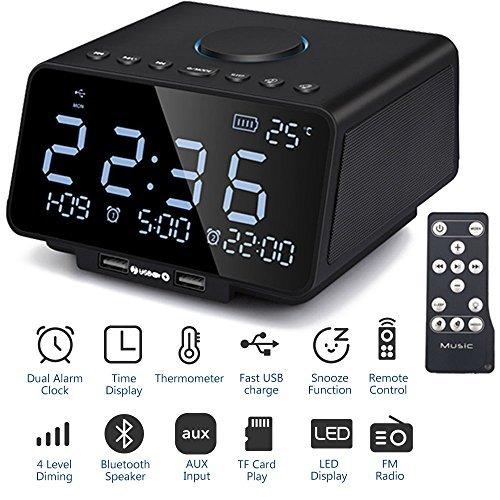 TPEKKA 5.5 インチ Bluetooth 目覚まし時計 デュアルUSB出力機能 内蔵 マイク 通話可能 AUX/ TFカード/ USBディス/ FMラジオ 音乐再生 スヌーズ機能と休眠機能 ブラック B076CGJMBW
