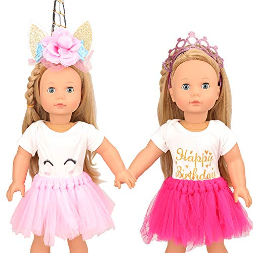 - Miunana Party Heroine Sets Clothes Accessories for American 18 Inch Girl Doll| Unicorn/ Crown, Dresses, Outfits for 18 Inch Dolls| Handmade, Best Reward Gift for Kids