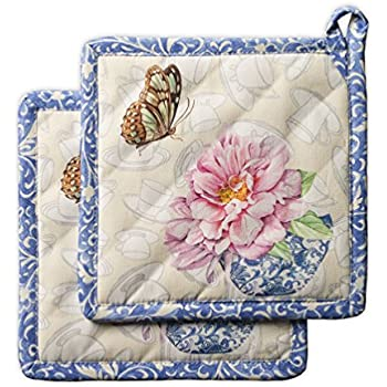 Maison d' Hermine Canton 100% Cotton Set of 2 Pot Holders 8 Inch by 8 Inch