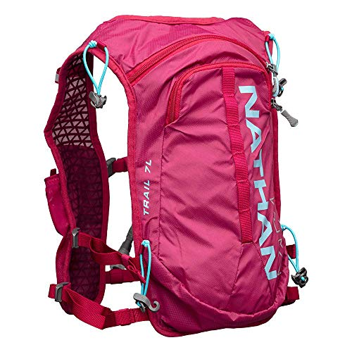(Nathan TrailMix Running Vest/Hydration Pack. 7L (7 Liters) for Men and Women | 2L Bladder Included (2 liters). Zipper, Phone Holder, Water (Sangria/Magenta Purple/Sky Blue, One Size Fits Most))