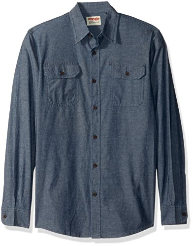 Woven Down Collar Shirt Button - Wrangler Authentics Men's Authentics Long Sleeve Classic Woven Shirt, Dark Chambray XL