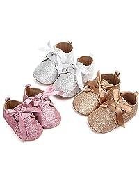 SelansKJ Newborn Toddler Baby Girls Sweet Bow Lace-up Flat Sole Glitter Shoes Prewalker