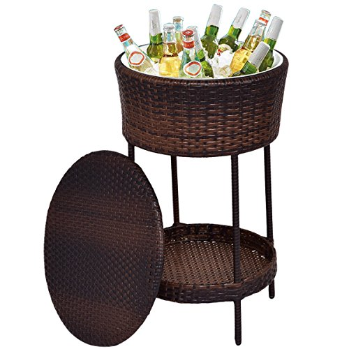 Giantex Outdoor Cooler Ice Bucket Patio Wicker Storage Poolside Deck Beverage Cooler Table with Lid Brown