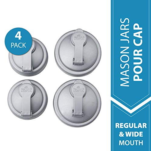 - reCAP Mason Jars Lid POUR Cap, 2 Regular Mouth, 2 Wide Mouth, Silver - BPA-Free, American Made Ball Mason Jar Lids for Preparing, Serving & Storage, Spill Proof - Made with No-Break Materials