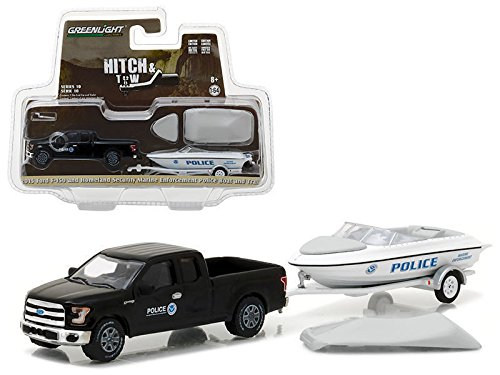 Greenlight 1/64 Homeland Security Ford F-150 & Police Boat w/ Trailer