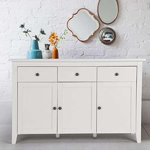 FurnitureR Contemporary Sideboard Buffet Table Cabinet with Wood Storage Console Table 3 Drawers & 3 Cabinets White For Sale
