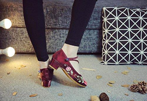 Lazutom Lacets Femme pour Ville Rouge de Vin à Chaussures wqnCrAfwZ
