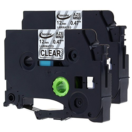 """Anycolor 2 Pack Compatible Brother P-touch TZe Label Tape TZe-131 TZe131 TZe 131 1/2 Inch Black on Clear Laminated Label Tape (0.47"""" x 26.2' 12mm x 8m)"""