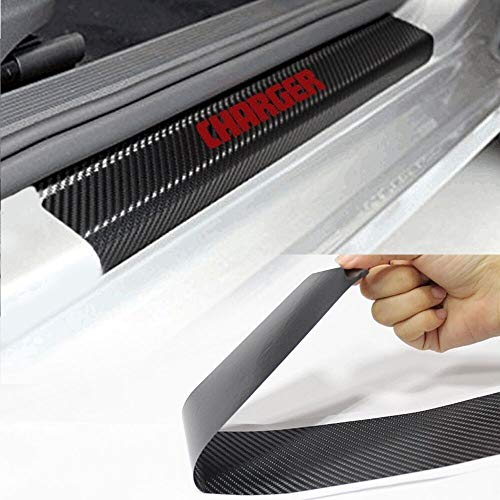 SENYAZON Car Threshold Pedal Sticker for Dodge Charger Decoration Scuff Plate Carbon Fibre Vinyl Sticker Car Accessories car-Styling (Red)
