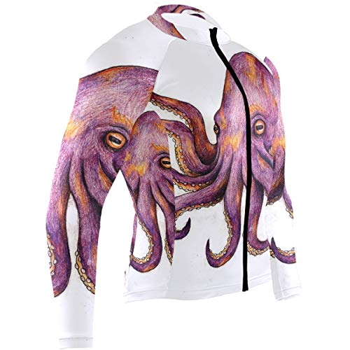 Ladninag Octopus Tattoos Mens Cycling Jersey Top Full Sleeve Mountain Biking Clothes Outfit