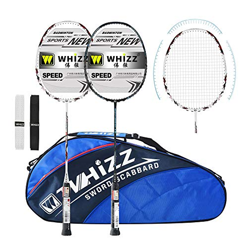 WHIZZ Graphite Badminton Racket Set, Upgraded Version with Grommet Strip