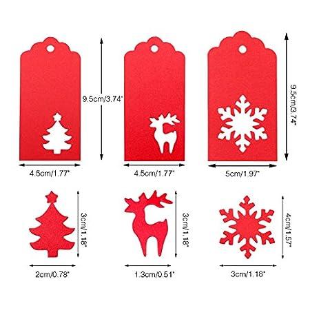 Weihnachts Geschenkanh/änger,150 st/ücks Weihnachten tags Kraftpapier Etiketten Schneeflocke /& Trees /&Hirsch 9.5CM*4.5 CM Braune Geschenkanh/änger mit 20 M Jute-Schnur