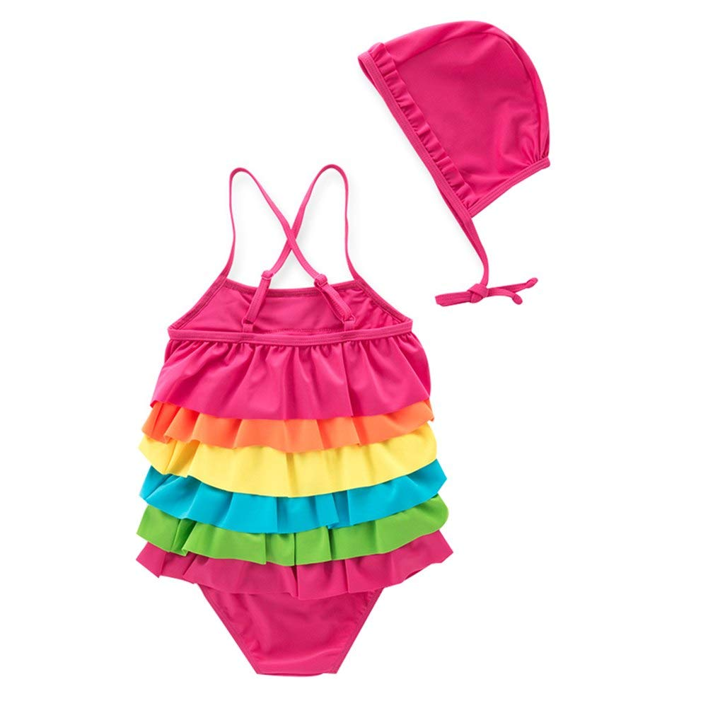 Baby Girls One Piece Layered Swimwear Tankini Toddler Rainbow Adjust Halter Sunsuit Outfit Lovely Bathing Suits UPF50+