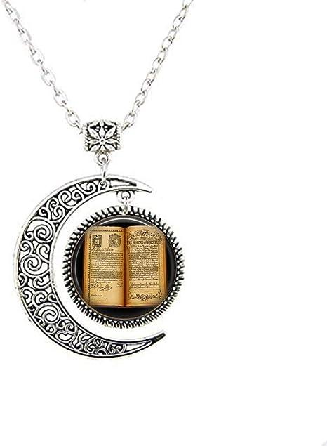 Collar con colgante de libro abierto antiguo – Collar de