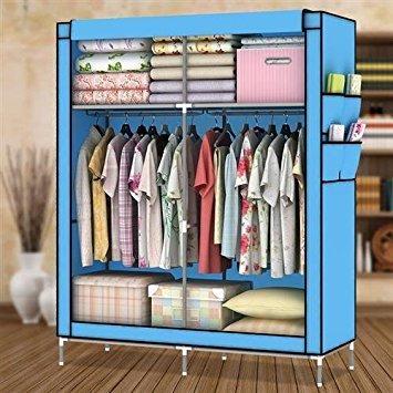 Amanda Home 10140H Portable Clothes Closet Wardrobe Fabric Clothes Storage Organizer (Blue - 69 x 43 x 18in)