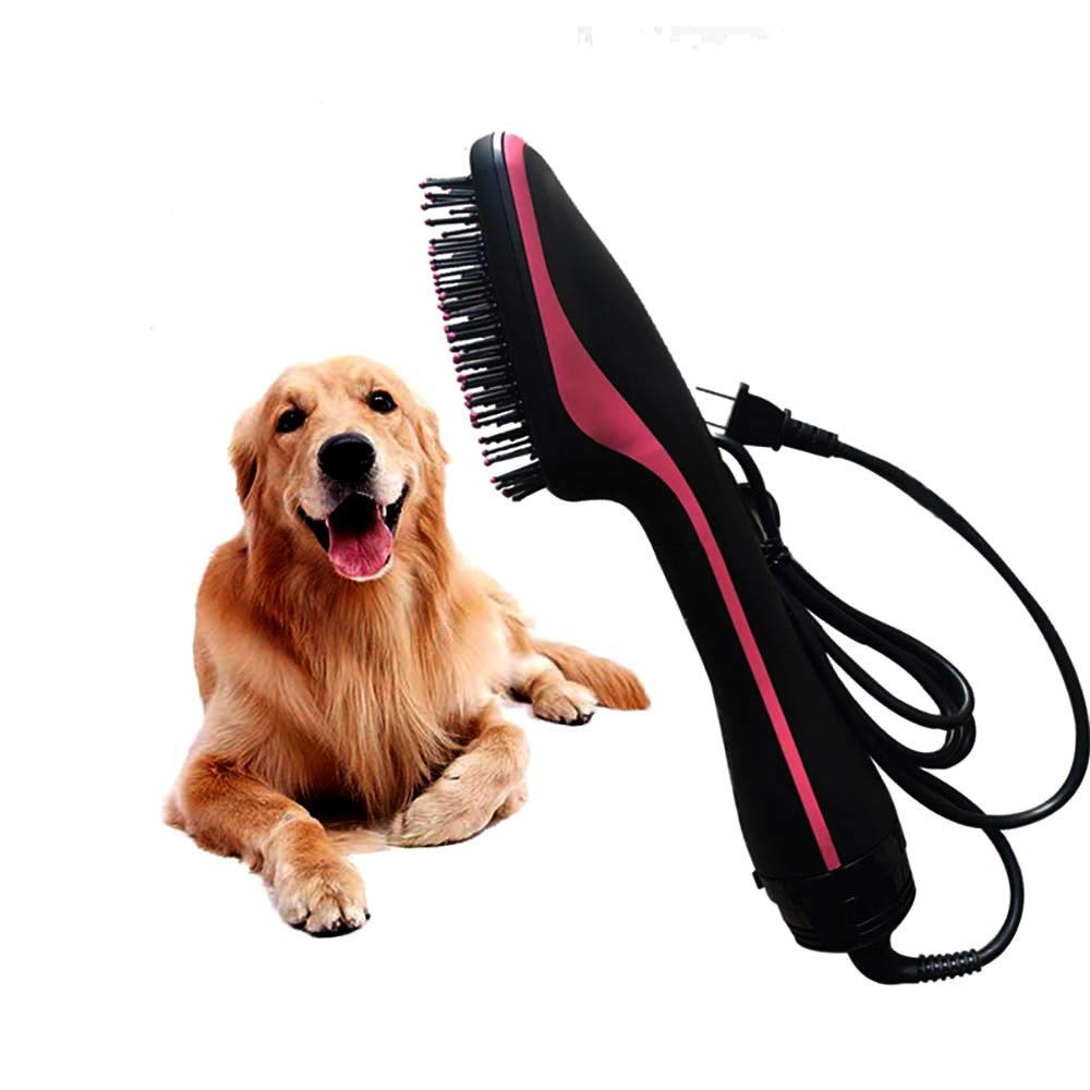 &liyanan Pet Dry Hair Comb - 2 in 1 Electric Dog Hot Air Comb, Mute Negative Ion Hot and Cold Air Hair Comb, Wet and Dry Adjustable, Suitable for Pets and Humans